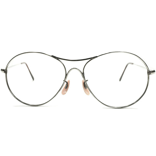 武骨OLDシェイプ デッドストック WW2期 1940s-1950s フランス製 MADE IN FRANCE W-BRIDGE 剥き出しシルバーメタル×BEER JAR パント型 アビエーターフレーム PANTO ヴィンテージ メガネ 眼鏡 A4735