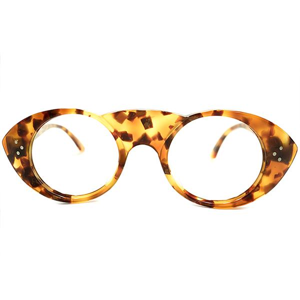 前衛的SPECIALピース デッドストック 1980s 英国製 MADE IN ENGLAND アングロアメリカン ANGLO AMERICAN EYEWEAR 超極太UPPER BRIDGE 鼈甲柄 3DOT 正円INオーバルラウンド ヴィンテージ メガネ 眼鏡 A4740