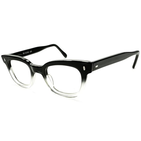 典型的BRITISH LOOK デッドストック 1960s 英国製 MADE IN UK ミニマル BLACK FADE ウェリントン ヴィンテージ メガネ 眼鏡 GOOD SIZE 44/24 A4743