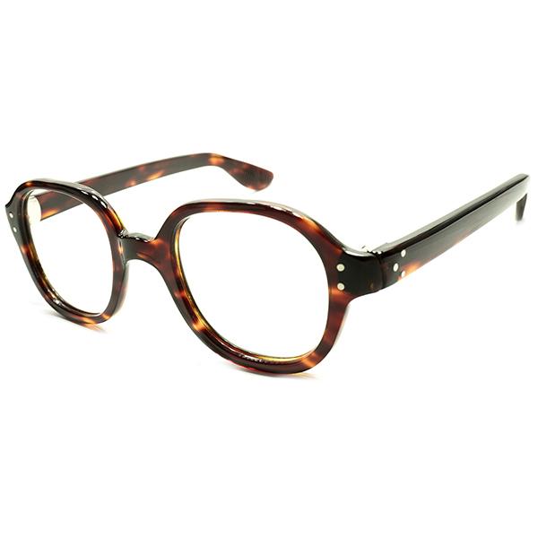UK普遍的フォルム&極上スペック デッドストック 1940s-1950s 英国製 MADE IN ENGLAND 鼈甲柄 2DOT×サイド3DOT ブリティッシュパント PANTO 実寸43/24 ビンテージヴィンテージ 眼鏡メガネ A4761