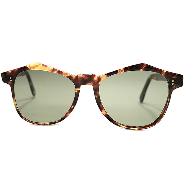 斬新濃密FRONT&GOODサイズ デッドストック 1940s-1950s 英国製 MADE IN ENGLAND 山型ブローライン 薄型極細リム 鼈甲柄 ウェリントンPANTO 当時物G15系フラットガラスLENS サングラス ヴィンテージ メガネ 眼鏡 A4762