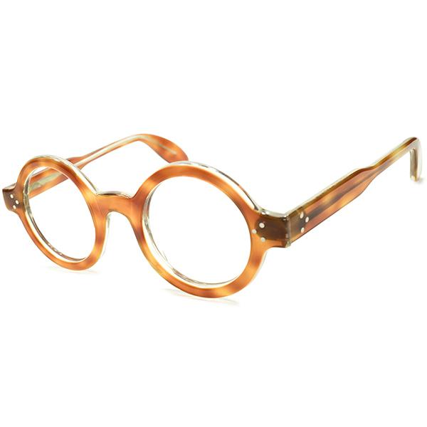 最高峰英国版コルビジェSTYLE 極上 1960s-1970s UK製 MADE IN ENGLAND アングロアメリカン ANGLO AMERICAN EYEWEAR 肉厚 正円 3DOTヒンジ ラウンドフレーム 実寸44/25 ヴィンテージ メガネ 丸眼鏡 イギリス 英国 A4763
