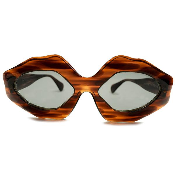 左右上下対称激レアARTシェイプ デッドストック 1960s フランス製 MADE IN FRANCE 多角WIDEリム 鼈甲柄 サングラス 当時物ガラスLENS入 サングラス ビンテージヴィンテージ 眼鏡メガネ A4769