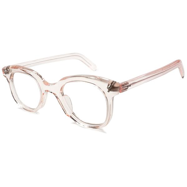ART級シェイプ 1950s デッドストック フランス製 MADE IN FRANCE FRESH PINK 傾斜カッティング ウェリントン パント ビンテージヴィンテージ 眼鏡メガネ 実寸43/24 GOOD SIZE A4779