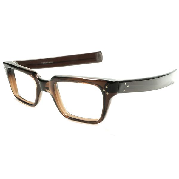 最強DETAIL搭載&超グッドサイズ デッドストック 1950s-1960s フランス製 MADE IN FRANCE 3DOTヒンジ×ストレートTEMPLE仕様 BEER JAR 硬質 ウェリントンフレーム 実寸48/24 ヴィンテージ メガネ 眼鏡 A4788