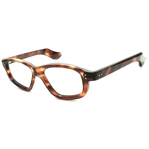 初期ART PIECE級個体&超GOOD SIZE デッドストック 1940s フランス製 MADE IN FRANCE 芯なしOLDテンプル×フロント3DOT 変形 ウェリントンフレーム 実寸48/20 ヴィンテージ メガネ 眼鏡 A4799