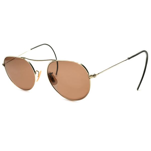 超レアUSA製小豆色ガラスLENS入激渋 デッドストック 1930s USA製 MADE IN USA ボシュロム B&L BAUSCH LOMB 1/10 12KGF本金張り UPPER BRIDGE アビエーター ラウンド 実寸45/18 ビンテージヴィンテージ 眼鏡メガネ 丸眼鏡 A4804