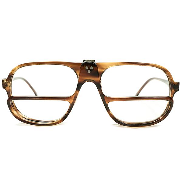 完全脱帽CRAZYデザイン デッドストック 1980s イタリア製 MADE IN ITALY FLIP-UP 跳ね上げ式 AVIATOR×ハーフアイ 2枚リム仕様 アビエーター ハーフアイ 3DOT 鼈甲柄 ヴィンテージ フレーム サングラス メガネ 眼鏡 A4851