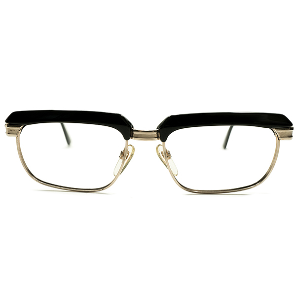 EU最古老舗 傑作モデル最高峰デッドストック 1960s 西ドイツ製 オリジナル品 MADE IN WEST GERMANY ローデンストック RODENSTOCK リチャード RICHARD 黒×本金張りGOLD size52/16 ヴィンテージ メガネ 眼鏡 A4862