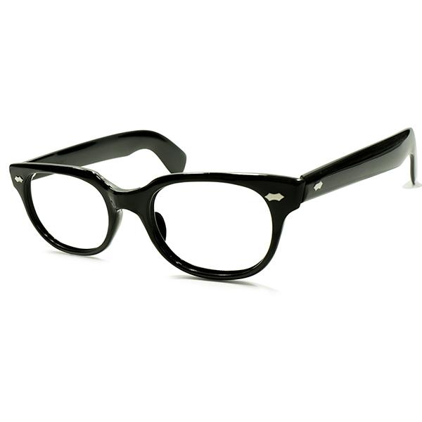 玄人好上級テイスト&GOOD SIZE 1950s-1960s フランス製 MADE IN FRANCE Wダイヤヒンジ×FATテンプル 極艶 黒 BLACK ウェリントンフレーム 実寸45/20 ヴィンテージ メガネ 眼鏡 A4872