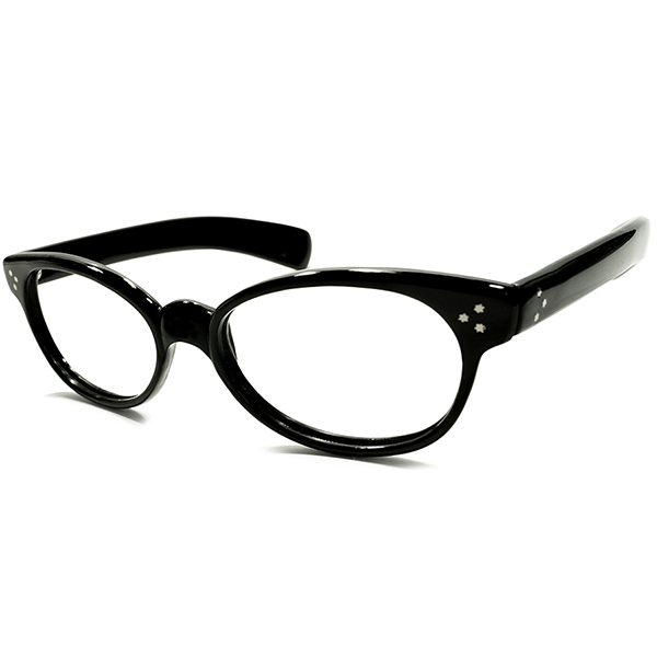 超ハイクオリティ&超絶1点モノオーラ 1960s USA製 MADE IN USA トリプルSTARヒンジ×極太テンプル 艶黒生地 ウェリントンフレーム 実寸54/20 ヴィンテージ メガネ 眼鏡 A4873