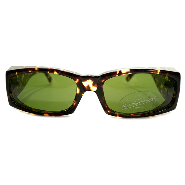 圧巻サイドビュー 英国イングランド製 デッドストック 1980-1990s OLD アングロアメリカン ANGLO AMERICAN 曲智型 極太テンプル ウェリントン ビンテージヴィンテージ 眼鏡メガネ サングラス AMBER×GREENレンズ A4908