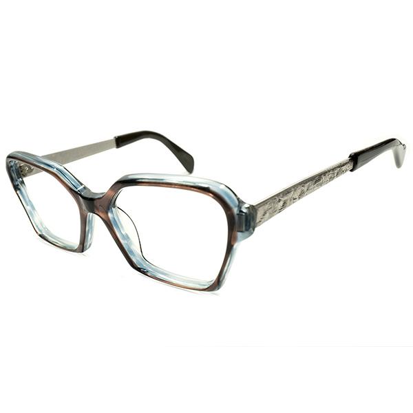 芸術的完成度 1960sデッドストック 英国製ブルー&ブラウンCRYSTAL2層生地×デコレーションTEMPLE変形ウェリントンsize48/18 ビンテージ アンティーク イギリス メガネ 眼鏡 A4938