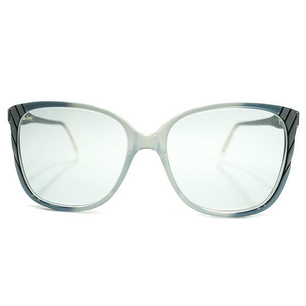 高次元ALL BLUE仕様 1980s デッドストック 英国製 MADE IN ENGLAND オリバーゴールドスミス OLIVER GOLDSMITH BLACK×SKY BLUE STRIPE DESIGN サングラス ビンテージヴィンテージ 眼鏡メガネ カラーレンズ入 A4962