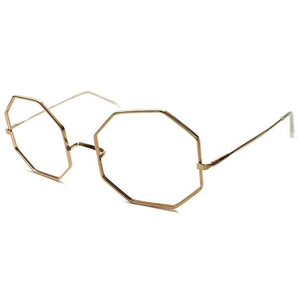 フレンチモダンBIGシルエット デッドストック 1960s フランス製 MADE IN FRANCE GOLDメタル 正八角形 オクタゴンフレーム OCTAGON 実寸54/24 ヴィンテージ メガネ 眼鏡 A4969
