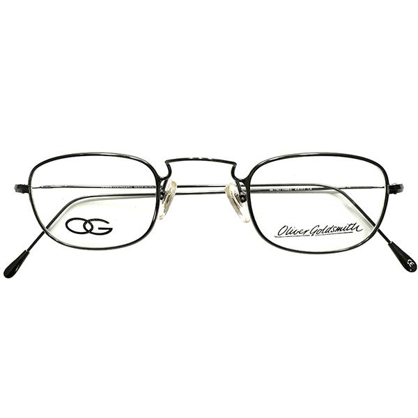 万能型超良心設計&秀逸サイズ43/27 デッドストック 1980s イタリア製 MADE IN ENGLAND オリバーゴールドスミス OLIVER GOLDSMITH 極細リム&テンプル UPPER BRIDGE スクエアフレーム ヴィンテージ メガネ 眼鏡 A4989