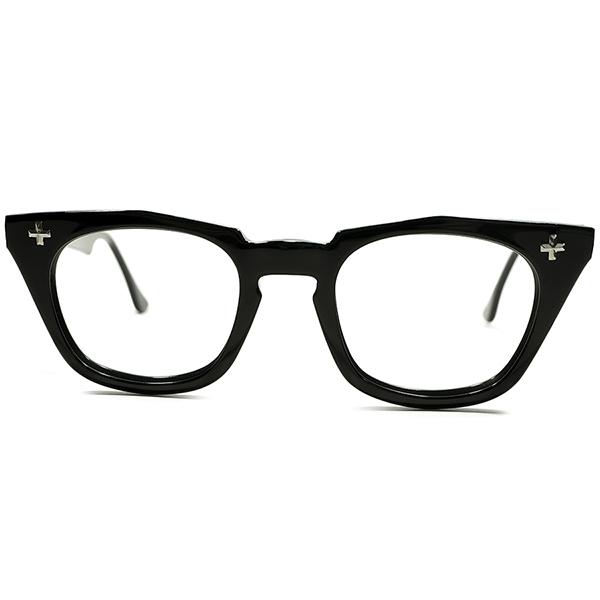 レア短縦多角SHAPE×最上コンディション 1950s-1960s USA製 ボシュロム B&L BAUSCH LOMB クロスヒンジ 艶黒 BLACK ウェリントンフレーム size46/22 ヴィンテージ メガネ 眼鏡 A4999