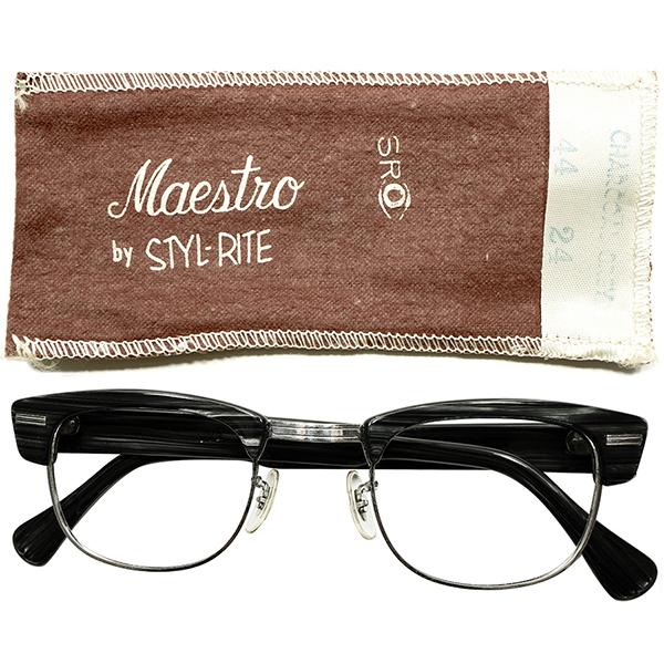 玄人向短縦シェイプ&ゴールデンsize44/24 専用布帛付デッドストック 1950s-1960s USA製 MADE IN USA SRO STYL RITE OPTICS ブラックウッド×1/10 12KGF ホワイトゴールド ブロータイプ ヴィンテージ メガネ 眼鏡 A5022