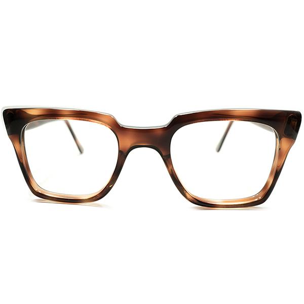 実用的デイリー仕様 デッドストック 1960s-1970s 英国製 MADE IN UK 伝統的ノーヒンジ 硬質鼈甲柄セル素材 ハイクオリティ ウェリントン ヴィンテージ メガネ 眼鏡 A5029
