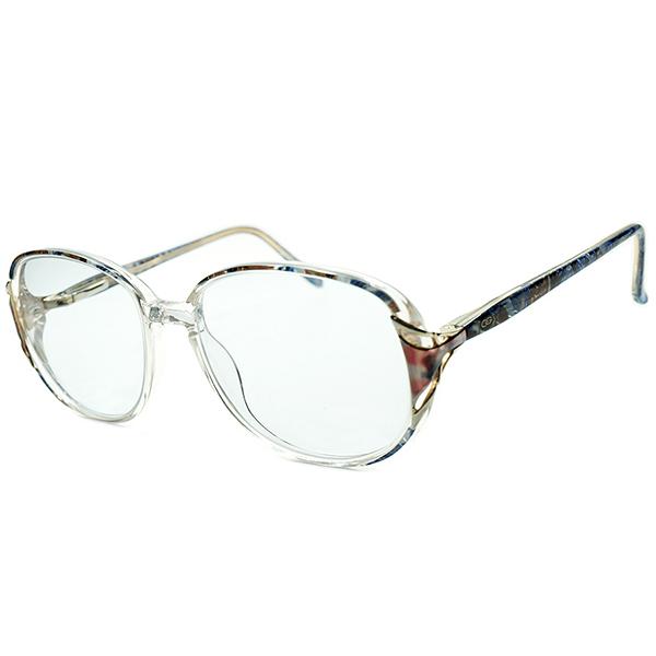 BLUEレンズ入即着用可 デッドストック 1980s 英国製 MADE IN ENGLAND オリバーゴールドスミス OLIVER GOLDSMITH クリスタルクリア×MODERN MIX柄 バネ蝶番式 サングラス size54/18 ヴィンテージ メガネ 眼鏡 A5034