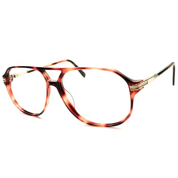 斬新大枠×ナローシェイプ デッドストック 1980s 英国製 MADE IN ENGLAND オリバーゴールドスミス OLIVER GOLDSMITH 赤鼈甲柄 W-BRIDGE アビエーター AVIATOR size57/13 ヴィンテージ メガネ 眼鏡 A5035