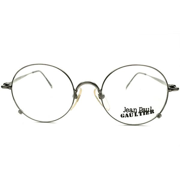 超実用的STEAMPUNKインスパイア デッドストック 1990s 日本製 MADE IN JAPAN ジャンポールゴルチエ Jean Paul GAULTIER 燻 MATT SILVERメタル 正円 ラウンドレーム size49/20 ビンテージヴィンテージ 眼鏡メガネ 丸眼鏡 A5072