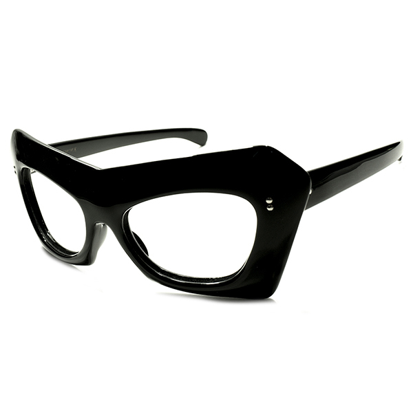 仰天AVANT-GRADE デッドストック 1950s-1960s フランス製 MADE IN FRANCE 極太FLATフロント FRENCH MODE 歪形BLACKフレーム 実寸48/20 ヴィンテージ メガネ 眼鏡 A5080