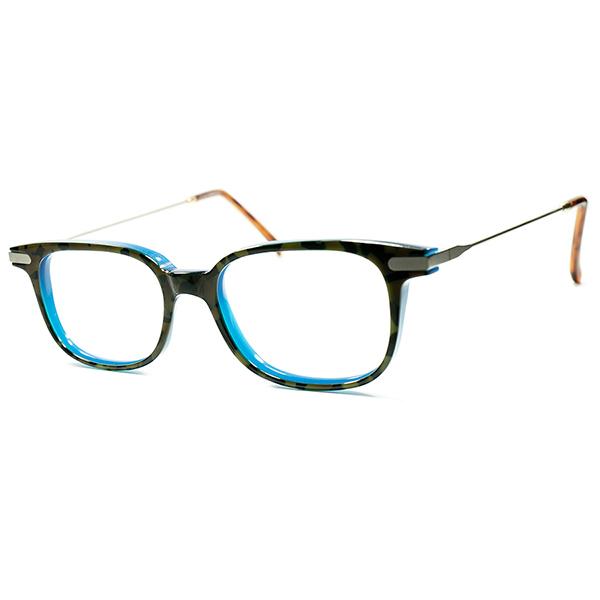 爽快ハイブリッドCLASSIC 1980s-1990s フランス製 デッドストック MOSAIC AMBER x NEON BLUE コンビネーション ウェリントン ビンテージヴィンテージ 眼鏡メガネ a6198
