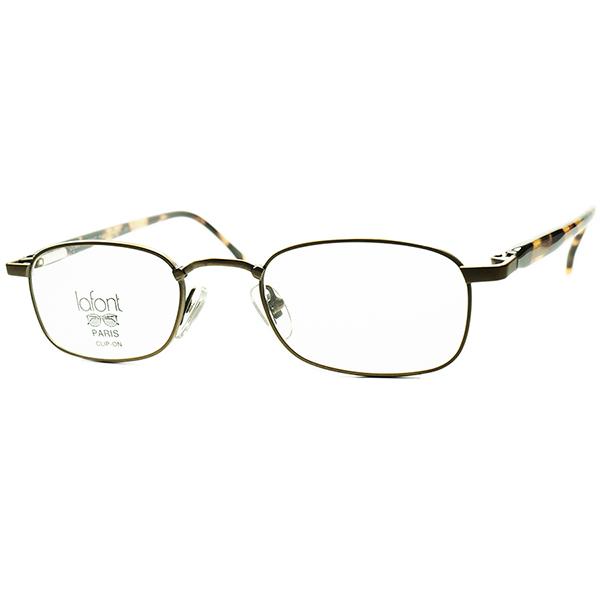 デイリー向け 優秀モダンクラシック1980s-90sフランス製 デッドストック LAFONT ラフォン 横長スクエア系ウェリントンPANTO バネ蝶番 ビンテージヴィンテージ 眼鏡メガネ a6289