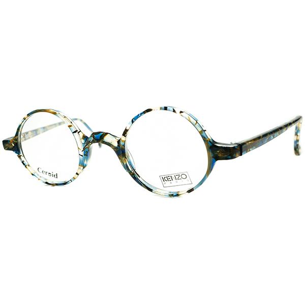 優秀バランスx秀逸シルエット1980s-90sHAND MADE FRANCE デッドストック KENZOケンゾー LEAF型ヒンジBLUE MOSAIC正円ラウンド ビンテージヴィンテージ 眼鏡メガネ 丸メガネ 丸眼鏡 a7499
