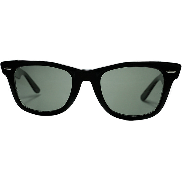 デッド同等TOPランクS級個体 1970s-80sUSA製 BL RAYBANボシュロムレイバン WAYFARER 1ウェイファーラー黒size50/22 砂打BL製G15ガラスLENS ビンテージサングラス#160;#160;眼鏡#160;メガネ a6522