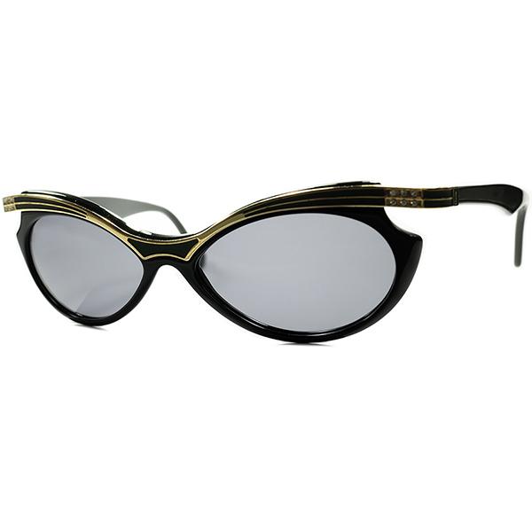 真骨頂CLASSICモードデザイン 1970s-80s ITALY製 デッドストック YSLイブサンローランFOX型サングラス BLACKxGOLD デザイナーズ ビンテージヴィンテージ 眼鏡メガネ サングラス a6571