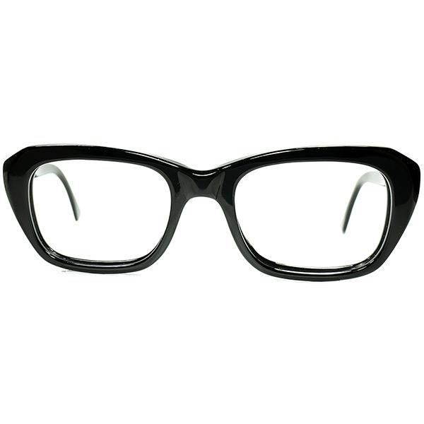 上流紳士的 UPPER CLASSIC UK MODERN 1960sデッドストックMADE IN ENGLAND立体的CUTTING BLACK ウェリントン 眼鏡 size48/22 ヴィンテージ 眼鏡メガネ a6572
