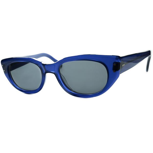 珍美色ROYAL BLUE 生地採用 デッドストックDEADSTOCK 1980s-1990s ENGLAND製 英国古参アングロアメリカンANGLO AMERICAN クラシック ウェリントン size48 ビンテージヴィンテージ 眼鏡メガネ a6593
