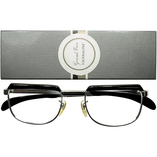 天才デザイナーUdo Proksch初期作品 BOX付 デッドストックDEADSTOCK 1960s AUSTRIA製 VIENNALINE 1/10 12KGF金張WHITE GOLDxBLACKブロータイプ size52/22 ビンテージヴィンテージ 眼鏡メガネ a6632