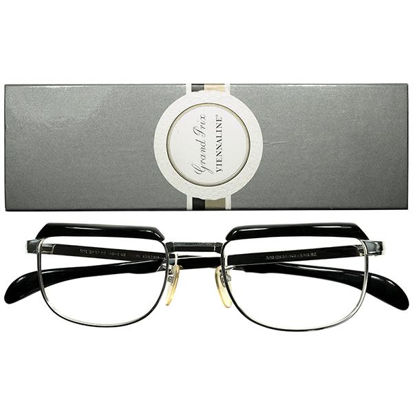 Udo Proksch初期作品 クラウンパント 派生DESIGN 1960s BOX付デッドストック AUSTRIA製 VIENNALINE1/10 12KGF金張WHITE GOLDx黒ブロータイプsize50/20 ビンテージヴィンテージ 眼鏡メガネ a6635