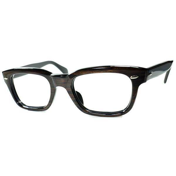 ストレスリー安定FITx超高精度ハイクオリティx秀逸SHAPE1950s-60sデッドストックDEADSTOCK USA製 稀少ALL WALNUTウォルナット雫型ヒンジウェリントンsize48/22 ビンテージヴィンテージ 眼鏡メガネ a6640