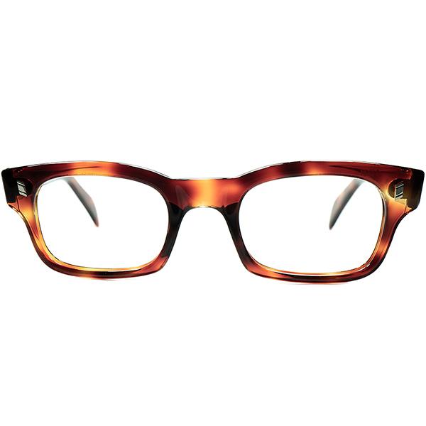 実用向けデイリー用 上質US BASIC STYLE 希少サイズ個体 1950s-60s USA製 デッドストックDEADSTOCK NY老舗SRO 流線型ウェリントンMAGNATE size48/24 AMBER ビンテージヴィンテージ 眼鏡メガネ a6643