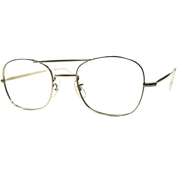 市場流通少ブリティッシュMid Centuryメタル 1950s-60s デッドストック MADE IN ENGLAND 本金張りMETAL WブリッジウェリントンPANTO ビンテージヴィンテージ 眼鏡メガネsize50/22  a6652
