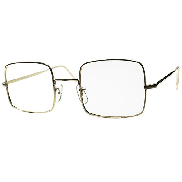 UK Mid Century Geometric超実用的デイリー個体 デッドストック 1950s-60s イギリス製 SQUARE スクエア 金張りメタルNOSE PAD仕様 size48/22 ビンテージヴィンテージ 眼鏡メガネ a6653