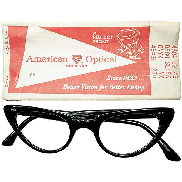 ONLY VINTAGEデザイン 1960s デッドストックUSA製 AO アメリカンオプティカル AMERICAN OPTICAL WスターヒンジCATEYEキャットアイ size46/22 BLACK ビンテージヴィンテージ 眼鏡メガネ a6664