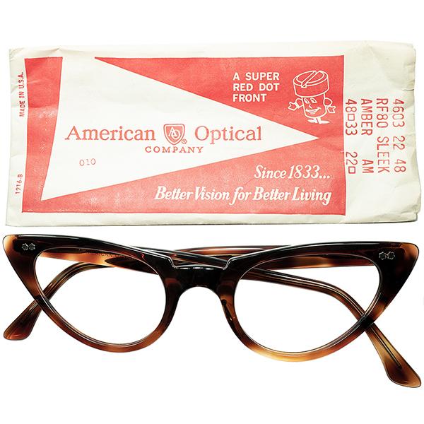 NEXT注目株 ハイセンス個体1960s デッドストック USA製 AOアメリカンオプティカル AMERICAN OPTICAL WスターヒンジCATEYE キャットアイ size48/22 AMBER ビンテージヴィンテージ 眼鏡メガネ a6667