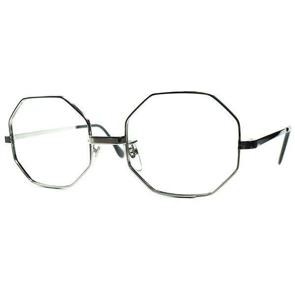 健在BRITISHハイクオリティ SOLIDボディ1960s-70s MADE IN ENGLAND イギリス製 デッドストック SILVER METAL オクタゴン OCTAGON size50/20 ビンテージヴィンテージ 眼鏡メガネ a6672