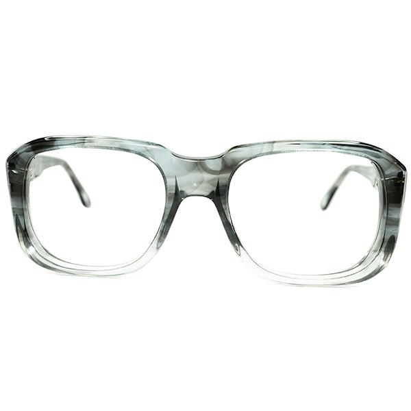 美色INDIGOベースAMBER生地 モダンUK CLASSIC 1960s-70s デッドストック MADE IN ENGLAND 立体肉厚SQUARE英国式ウェリントン眼鏡 size48/20 ビンテージヴィンテージ 眼鏡メガネ a6674