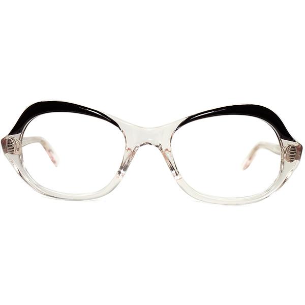 形容不可能ユニークUNUSALレアUNISEXデザイン 1960s デッドストック MADE IN ENGLAND 流線形 歪シェイプ 眼鏡 2TONE FLESH PINK size46/20 ビンテージヴィンテージ 眼鏡メガネ a6675