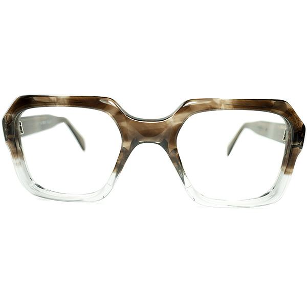 モダンUK CLASSIC ダンディズム体現 1960s-70s デッドストック ENGLAND製 SQUARE 英国式ウェリントン 眼鏡 size 48/24 SMOKY AMBER FADE ビンテージヴィンテージ 眼鏡メガネ a6676