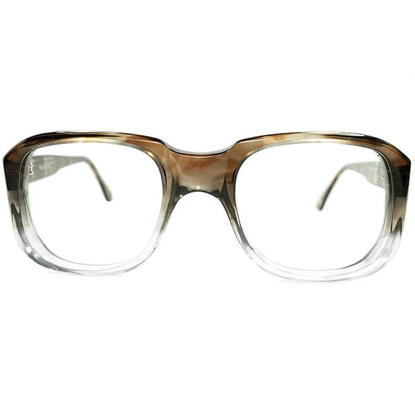 初見RARE生地採用 イギリス流CHIC& DANDY 1960s-70s デッドストック MADE IN ENGLAND 立体肉厚 SQUARE英国式ウェリントン 眼鏡 size 48/22 ビンテージヴィンテージ 眼鏡メガネ a6678