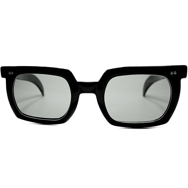 ミッドセンチュリーTASTE全開 OCTAGONベース独自幾何学DESIGN 待望BLACK 1960s USA製 AO AMERICAN OPTICAL アメリカンオプティカル PEBBLE BEACH 黒 ビンテージヴィンテージ 眼鏡メガネ a6697