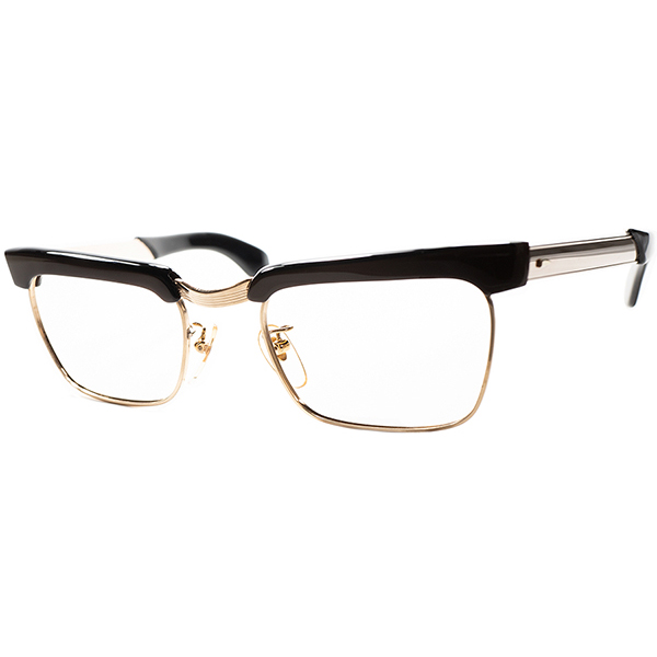 重厚ムードELEGANT CHIC デッドストックDEADSTOCK 1960s フランス製 FRAME FRACE 本金張りヨーロピアンスタイル CLASSICブロータイプ 46/20 CIGAR BROWN xGOLD ビンテージビンテージヴィンテージ 眼鏡メガネ a6701