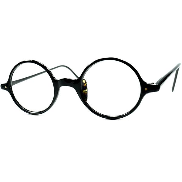 日本人向け仕様 絶妙GOODSIZEx 超高め鼈甲柄NOSE PAD 1920s-30s デッドストック JAPANESE ANTIQUE日本製 一山式 正円セルロイドラウンドROUND 黒 ビンテージヴィンテージ 眼鏡メガネ a6704